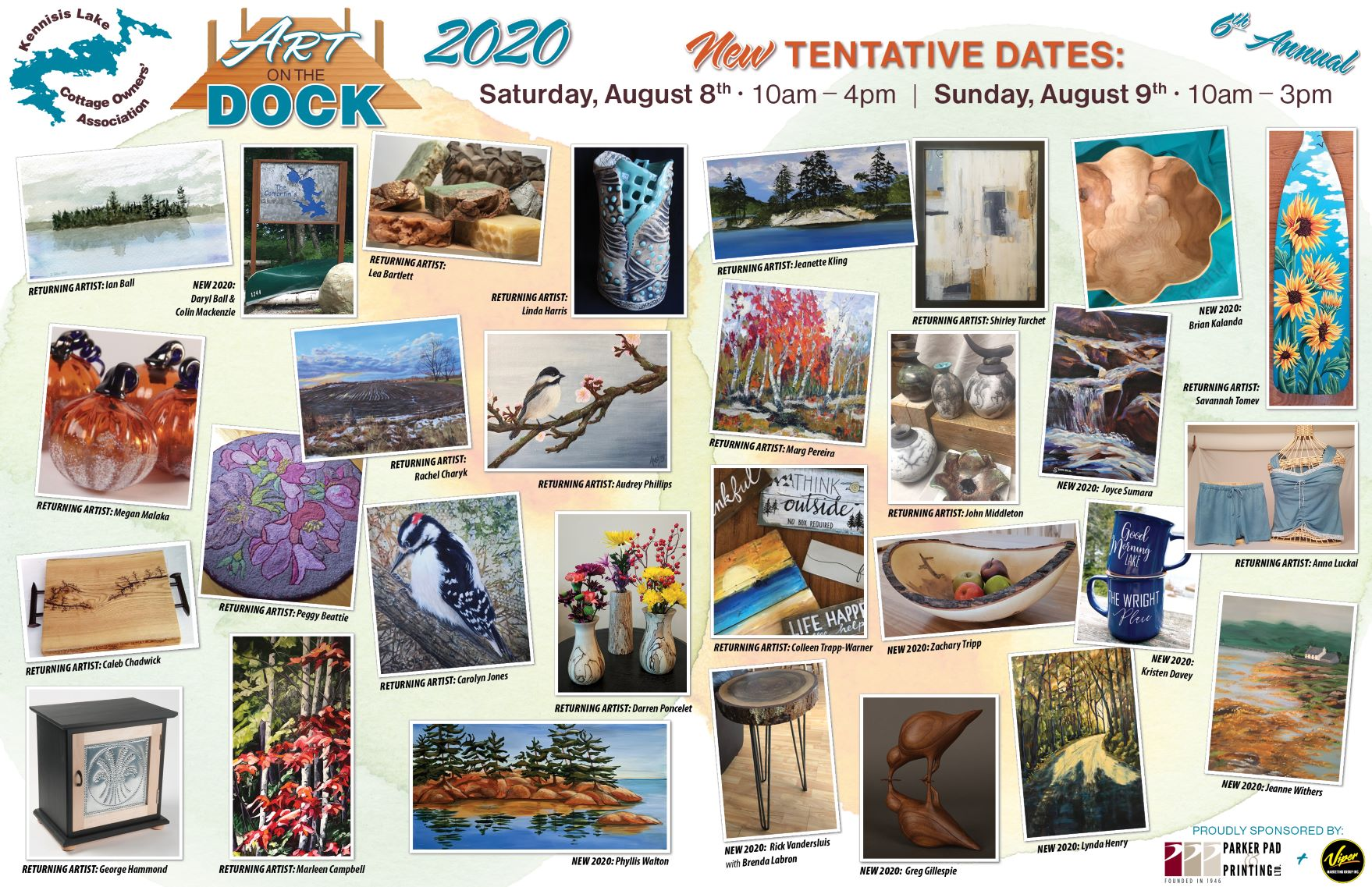 Art on the Dock – Date of Event moved to Aug 8 -9th. Poster of Artists