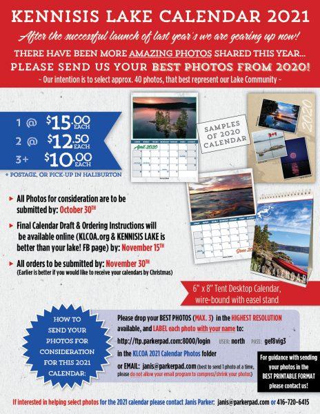 Kennisis Lake Calendar 2021